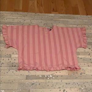 Pink ruffle stripe Top